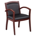 Expressions Set of 6 Full Back Faux Leather Wood Frame Chairs, 40046