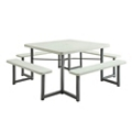 "Square Plastic Picnic Table with Benches - 49""W, 82054"