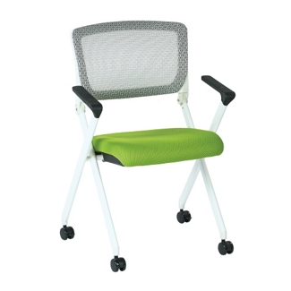 White Frame Mesh or Fabric Nesting Chair, 51522