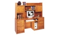 "Medium Oak Computer Credenza with Hutch - 68.25""W, 13530"
