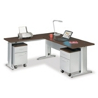 "Sector 72""W Double Pedestal L-Desk, CD06631"