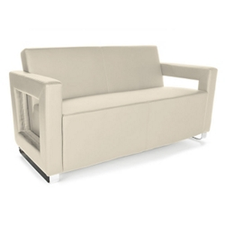 "Faux Leather Square Arm Reception Sofa - 59""W, 76278"