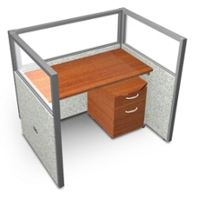 """Single Workstation with Clear Top and Mobile File - 48""""W x 47""""H, 13635"""
