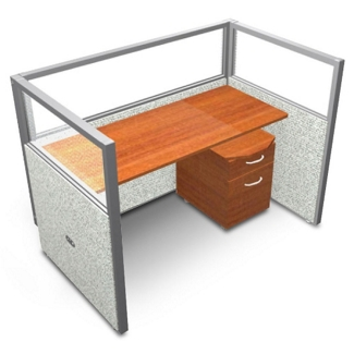 """Single Workstation with Clear Top and Mobile File - 60""""W x 47""""H, 13637"""