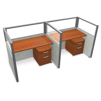 """Double Workstation with Clear Top and Mobile File - 96""""W x 47""""H, 13647"""