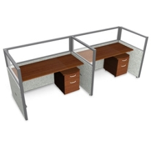 """Double Workstation with Clear Top and Mobile File - 120""""W x 47""""H, 13649"""