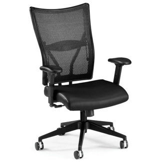 Mid-Back Mesh Chair with Leather Seat, 56666