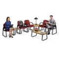 Grouping of 5 Arm Chairs in Vinyl and 3 Tables, 86115