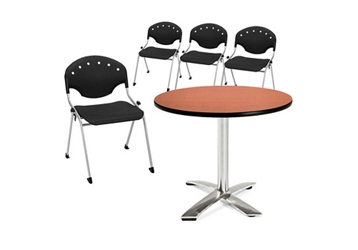 Breakroom Table and Four Armless Stack Chairs, 92135