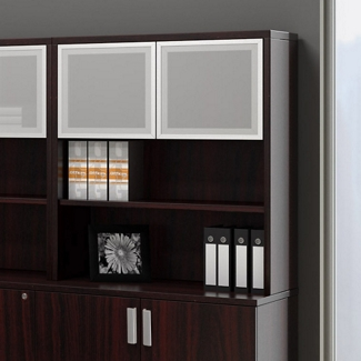 "36"" Bookcase Hutch with Silver Doors, 14724"