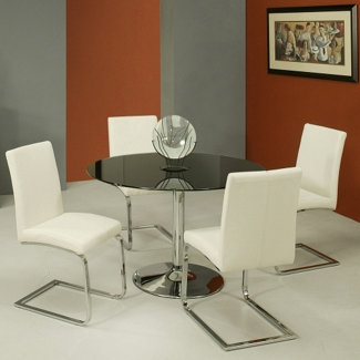 "Glass Top Round Conference Table and Chairs Set - 44"" Diameter, 45005"