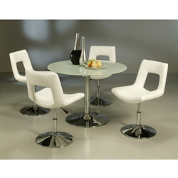 "Modern Glass Round Conference Table and Chairs Set - 44"" Diameter, 45006"