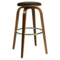 "Modern Wood Veneer Frame Faux Leather Barstool - 26""H, 75657"