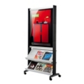 2 Shelf Free Standing Mobile Magazine Rack with Poster Display, 87760