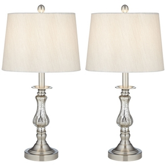 Set of Two Mercury Glass Lamps, 92062