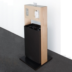 "Stainless Steel Waste Receptacle and Tissue Dispenser - 42""H, 82048"