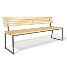 """Armless Slat Bench with Back and Sled Base - 72""""W, 82493"""