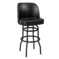 Large Vinyl Barstool with Black Frame and Bucket Back, 50865