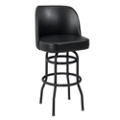 Large Vinyl Barstool with Black Frame and Bucket Back, 50865