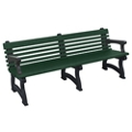 "Recycled Plastic Outdoor Bench with Back and Arms - 72""W, 82726"