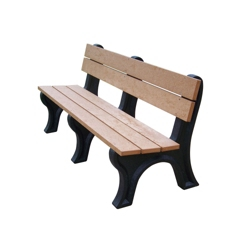 Recycled Plastic Outdoor Bench with Economizer Traditional Back 8', 85328