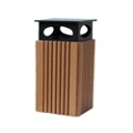 Recycled Plastic Covered Outdoor Trash Receptacle 40 Gallon, 85188