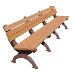 Monarque Recycled Plastic Armless Bench with Back 8', 85335
