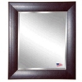 "35.7""H x 29.7""W Leather Frame Beveled Mirror, 87425"