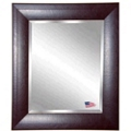 "37.7""H x 33.7""W Leather Frame Beveled Mirror, 87432"