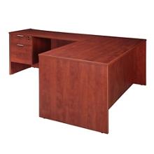 "Solutions Three-Quarter Pedestal L-Desk with Left Return - 66"" x 72"", 13963"