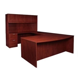"Solutions Bowfront U-Desk with Left Bridge and Hutch - 71""W, 13966"