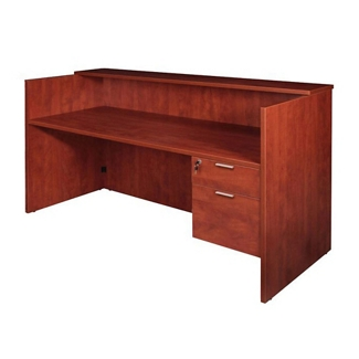 """Solutions Reception Desk with Three-Quarter Right Pedestal - 71""""W, 14000"""