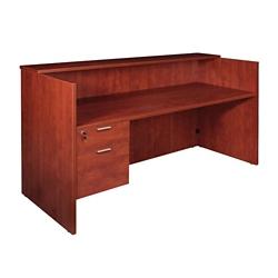 "Solutions Reception Desk with Left Three-Quarter Pedestal - 71""W, 14001"