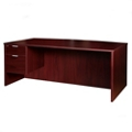 Solutions Left Pedestal Bowfront Desk with Three Quarter Pedestal, 14007