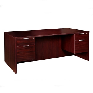"Solutions Double Three-Quarter Pedestal Desk - 71"" x 24"", 13413"