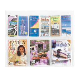 Economical Clear Plastic Nine Pocket Magazine and Pamphlet Rack, 33281