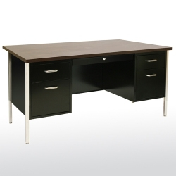 "Lockable Compact Steel Double Pedestal Desk - 60""W, 13805"
