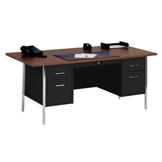 """Lockable Steel Double Pedestal Desk - 72""""W, 13807"""