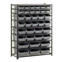 """36 Bin Steel Shelving Unit - 44""""W x 16""""D x 57""""H, 36233"""