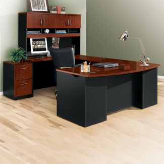 "Executive Bowfront U-Desk with Hutch - 72""W, 14761"