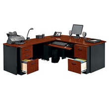 Locking Double Pedestal Executive Bowfront L-Desk, 14763