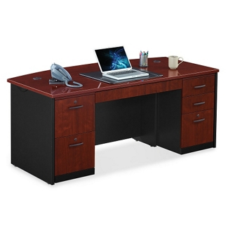 Locking Double Pedestal Executive Bowfront Desk, 14764