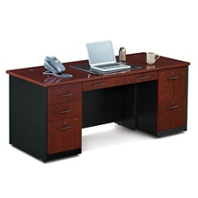 Locking Double Pedestal Executive Straight Desk , 14773
