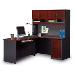 Compact Locking Single Pedestal L-Desk with Hutch, 14775