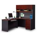 Compact Locking Single Pedestal L-Desk with Hutch, 14775