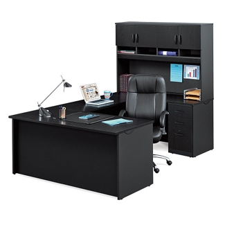 Compact U-Desk with Hutch and Lockable Pedestals, 14777