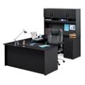 Compact U-Desk with Hutch and Lockable Pedestals, 14777