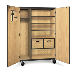 Mobile Wardrobe Storage Cabinet with File Drawers, 36279
