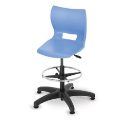 Adjustable Height Poly Stool with Glides, 50010