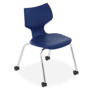 Sculpted-Back Stack Chair with Casters, 57059